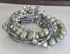 Handmade  Chunky Silver Glass  Pearl Bridal Bracelet by kirevi8, $53.00