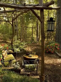 This award winning outdoor space was created by recycling fallen trees, recycled concrete well cover & discarded lum - Modern Design Backyard Gazebo, Backyard Lighting, Backyard Retreat, Backyard Landscaping, Outdoor Lighting, Lighting Ideas, Wooded Backyard Landscape, Forest Garden, Woodland Garden