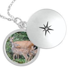 SOLD! Mother Deer and Fawns Photo Necklace by FunNaturePhotography. #deer #necklace #fawns http://www.zazzle.com/funnaturephotography*