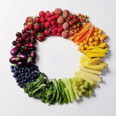 Círculo cromático de frutas y verduras. Faltan los azules!!!! ¿conoces alguna fruta azul?