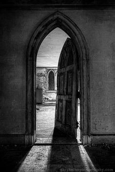 Unhinged - Old Gothic Door of Abandoned Castle, B&W Print, Monochromatic, Old world, Medieval, Black White Photograph on Etsy, $29.00