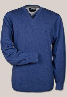 CASAMODA Pullover Langarm V-Ausschnitt Uni Baumwolle hellblau 004130/100