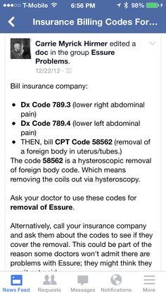 Coding to remove #essure