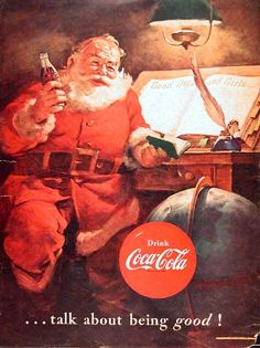 1951 Coca-Cola Santa Claus original vintage advertisement. Features Santa consulting his list of Good Boys & Girls.