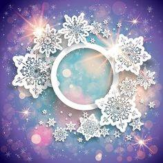 Beautiful snowflake with shiny background vector 04