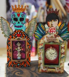 Two Fairy Art Shrines for RCAG Fairy Shrine Swap - August 2013 by MJ Chadbourne/Desert Dream Studios - All Rights Reserved - Copyright 2013 Mexican Crafts, Mexican Folk Art, Day Of The Dead Art, Shadow Box Art, Matchbox Art, Tin Art, Altered Art, Altered Tins, Assemblage Art