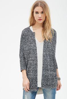 Collarless Two-Tone Knit Cardigan - Clothing - Cardigans - 2000082208 - Forever 21 UK