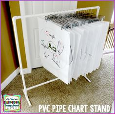 The Kindergarten Smorgasboard: DIY PVC Pipe Chart Stand and other pvc ideas for the classroom