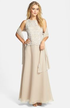 For mom. $28 J Kara Embellished Bodice A-Line Chiffon Gown with Shawl available at #Nordstrom