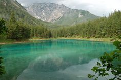 Today I learned of the Grüner See (Green Lake) in Austria. Which during the winter is deep with the surrounding area being used as a park. But, becomes up to deep during the spring/summer due to melting snow from the mountains resulting in the park Green Lake Austria, Reserva Natural, County Park, Abandoned Places, Underwater, The Good Place, Beautiful Places, Amazing Places, Scenery