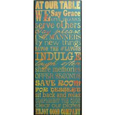 "At Our Table We Say Grace Inverted Frame | Shop Hobby Lobby;  Dimensions:      Width: 15 1/2""     Depth: 1 3/4""     Height: 37 1/2"" $60/currently 50% off"