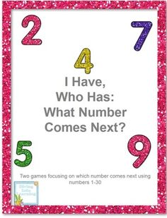 "This packet includes two ""I have, who has"" games with a twist. The games focus on which number will come next using numbers 1-30. There are 30 cards included in each game. This is a fun way to practice number sequencing!"
