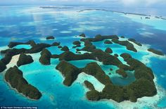 An aerial image of Seventy Island in Palau, taken 75 years after the war with Imperial Japan started Islands In The Pacific, Pacific Ocean, Imperial Japanese Navy, Island Pictures, Aerial Images, Us Marine Corps, Rock Island, Aerial View, Mail Online