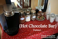 Hot chocolate bar - wouldn't this be fun for parties (kids or adults), for the house, a Christmas open house, the coffee bar at work?