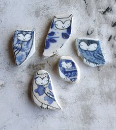 Beach Pottery Collection - Owls