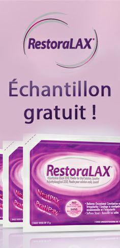 Échantillon gratuit de RestoraLAX.  http://rienquedugratuit.ca/echantillon-gratuit/restoralax/