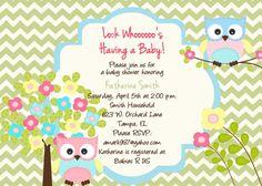 Custom Owl Baby Shower Invitation  Owl by PrintYourEvent on Etsy, $15.00