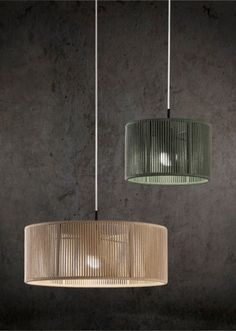 Hanging lamp made with metal structure covered with braided rope by hand available in 3 sizes and 14 colors. Lamp Design, Lighting Design, Home Decor Kitchen, Diy Home Decor, Luminaria Diy, Crochet Lamp, Lampe Art Deco, Lamp Shades, Ceiling Lamp