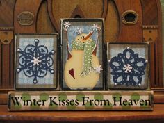 Winter Sign - Winter Kisses From Heaven Christmas and Winter Decor Sign Word Blocks. $34.00, via Etsy.