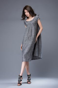 Gray linen tunic dress - mini Linen Women's Summer Dress with Cap Sleeves & Scoop Neck Mid-Length Plus Size Dress C886