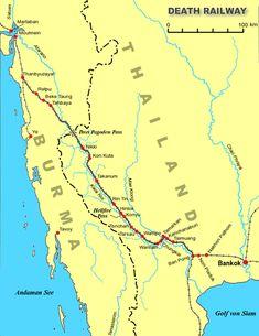 泰緬鉄道の経路。戦場にかける橋
