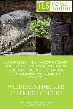 """Seit Jahren streifen sie auf der Suche nach verlassenen, vergessenen und abenteuerlichen Orten durch den Alpe-Adria-Raum.Unterwegs mit den Autoren Georg Lux und Helmuth Weichselbraun auf den Spuren ihres Buches """"Vergessene Paradiese"""" im Vipavatal.  #busreisen #kärnten #slowenien #italien #kroatien #österreich #ausflug #tagesausflug #tagesfahrt #sehenswürdigkeiten #führung #kultur #kunst #vipava #wein #wandern #osmica #karst Girl Hairstyles, Hair Styles, Coach Tours, Slovenia, Day Trips, Paradise, Alps, Stripes, Searching"""