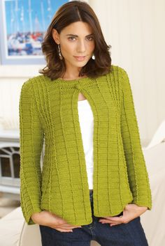 Flared crocheted ladies' jacket cardigan with button fastening at neck. Shop this women's crochet pattern at The Knitting Network now