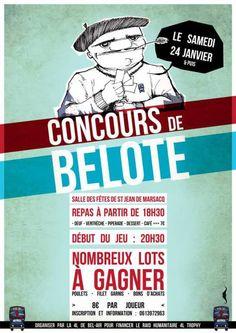 Affiche du concours de belote organisé samedi 24 janvier 2015 dans la commune de Saint Jean de Marsacq, dans les Landes (40), au profit du 4L Trophy.