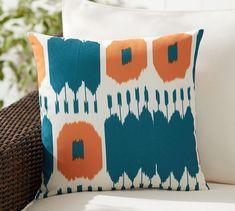 Tess Ikat Indoor/Outdoor Pillow | Pottery Barn