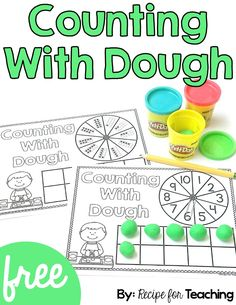 """FREE Counting With Dough mats! Includes two different mats for differentiation! Counting and """"Play-Doh"""" FUN for young learners! Numbers Kindergarten, Kindergarten Centers, Math Numbers, Preschool Math, Math Classroom, Fun Math, Teaching Math, Math Centers, Kindergarten Counting"""