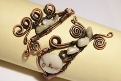 copper cuff  bracelet  white mother of pearl by BeyhanAkman, $40.00