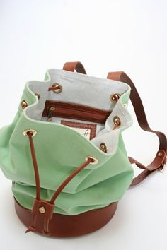 mint green + leather