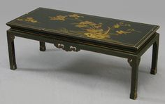 Oriental Black Lacquer Coffee Table, 20th c., the top : Lot 2065