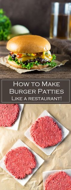 How to Make Burger Patties Like a Restaurant via /foxvalleyfoodie/ Loading. How to Make Burger Patties Like a Restaurant via /foxvalleyfoodie/ Homemade Burger Patties, Making Burger Patties, Homemade Hamburgers, Hamburger Patties Recipe, Beef Burger Patty Recipe, Best Homemade Burgers, Beef Patty, The Best Burger, Gastronomia