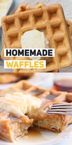 This waffle recipe cooks up crisp on the outside and perfectly fluffy on the inside. Youll be wondering why you didnt make a double batch. (Hint: make a double batch! - Waffle Maker - Ideas of Waffle Maker Easy Waffle Recipe No Milk, Waffle Batter Recipe, Best Waffle Recipe, Waffle Maker Recipes, Small Batch Waffle Recipe, Banana Waffles, Pancakes, Quiche, Breakfast