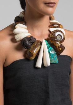 Monies UNIQUE Amber, Mammoth, Malachite, & Ammonite Necklace