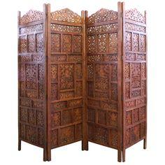 4 panel carved indian stag deer screen wooden screen room divider