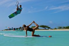 Kitesurf + SUP + Yoga = Perfect Moment  This will be me and Phillip this summer!
