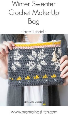 Pretty, free crochet zipper bag tutorial from Mama In A Stitch. This is made with tapestry crochet, which is a lot of fun, and not too difficult! ༺✿ƬⱤღ✿༻