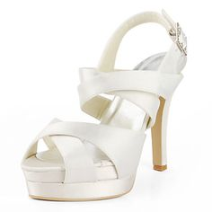 Satin Stiletto Heel Sandals / Platform With Buckle Wedding Shoes (More Colors Available) – USD $ 79.99
