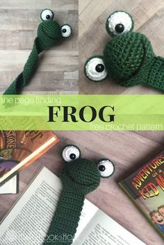 Frog Bookmark Amigurumi Crochet Pattern http://hearthookhome.com/frog-bookmark-amigurumi-crochet-pattern/?utm_campaign=coschedule&utm_source=pinterest&utm_medium=Ashlea%20K%20-%20Heart%2C%20Hook%2C%20Home&utm_content=Frog%20Bookmark%20Amigurumi%20Crochet%20Pattern
