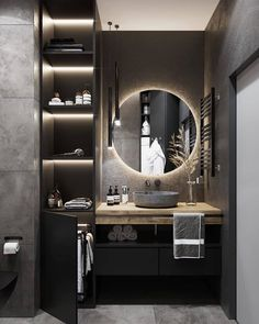 Bathroom interior done right, black and white colors are very soothing and comfortable 🧘♂️ to the eye, bright but dimmed, perfectly fitted… Home Room Design, Home Interior Design, Interior Decorating, Modern Interior, Bathroom Design Luxury, Modern Bathroom Design, Bad Inspiration, Bathroom Inspiration, Toilet Design