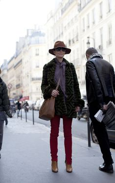 On the Street….rue Saint-Honoré, Paris. Red, Purple, Forest Green. Looks like this make all black seem so boring. « The Sartorialist