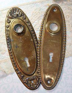 Hardware ESCUTCHEON Plates  Ornate With Beaded Trim  Vintage Metal Door  Parts