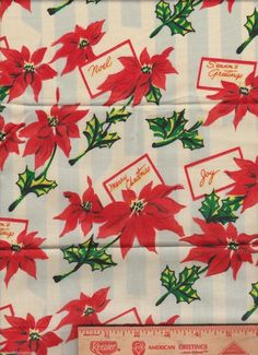 Merry Christmas Poinsettia Blue Striped  fabric window topper curtain Valance #Handmade #Holiday