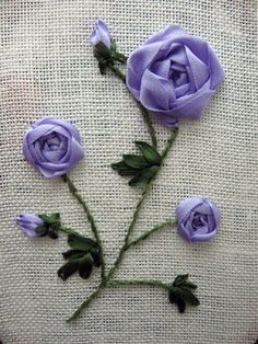I ❤ ribbon embroidery . . . Beautiful Lavender Spider Roses, Ribbon Embroidery ~By ShellFL