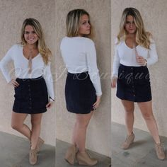 91cfdc006de This super cute button down corduroy skirt is a staple piece for any  fashionista. If