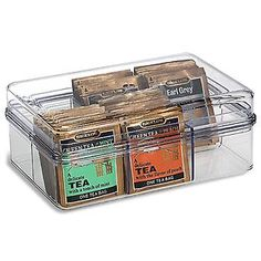 Our collection of crystal clear containers provides airtight storage while allowing optimal visibility of the contents.  The Tea Bag Storage Container has six sections and holds a total of 72 tea packets.