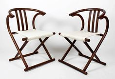 1 of 2 Art Deco Mid Century Modern Thonet Bentwood Camp Style Folding Chair 1938