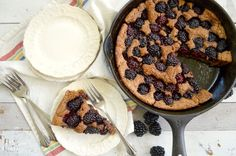 Whole Wheat Skillet Blackberry Cobbler - a pour-in-pan, 10-minute prep, healthy lower sugar dessert that showcases seasonal berries.